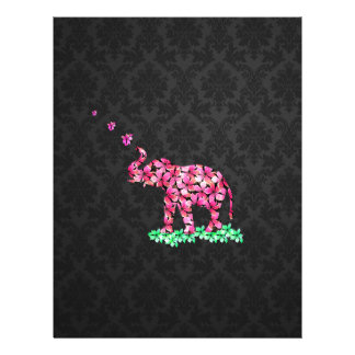 Retro Flower Elephant Pink Sakura Black Damask 21.5 Cm X 28 Cm Flyer