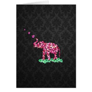 Retro Flower Elephant Pink Sakura Black Damask Card