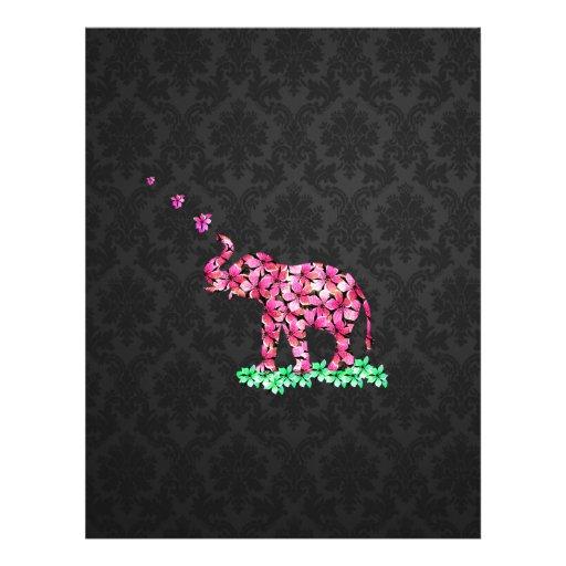 Retro Flower Elephant Pink Sakura Black Damask Personalized Flyer