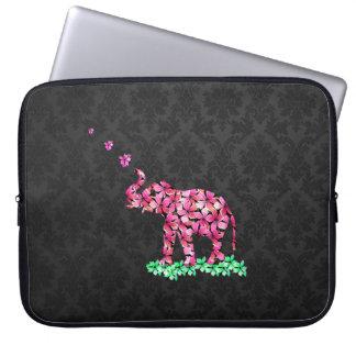 Retro Flower Elephant Pink Sakura Black Damask Laptop Sleeve