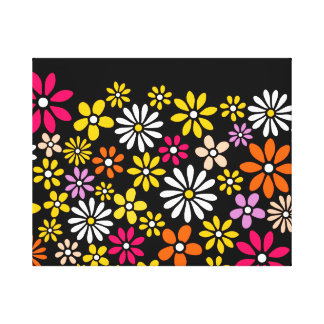 Retro Flower pattern Stretched Canvas Print