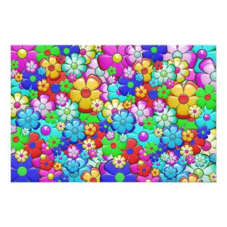 Retro flower pattern photo print