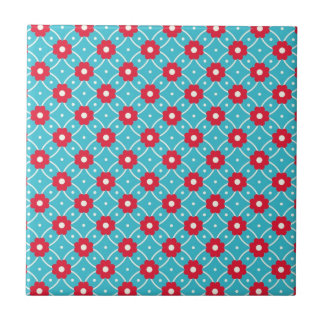 Retro Flower Pattern Small Square Tile