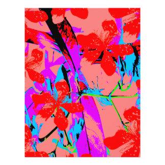 retro flower pink 21.5 cm x 28 cm flyer