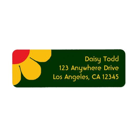 Retro Flower Power Return Address Label