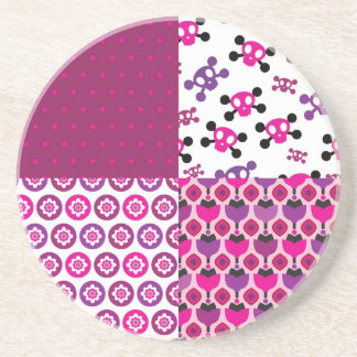 Retro flower skull polka dot coaster