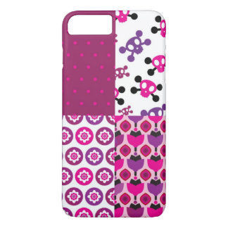Retro flower skull polka dot iPhone 8 plus/7 plus case