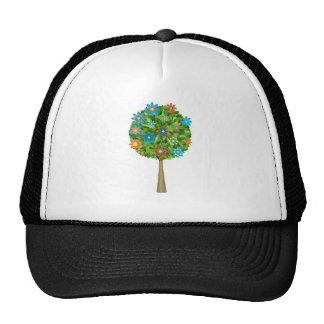 Retro flower tree trucker hats