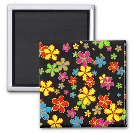 Retro Flower Wallpaper Square Magnet