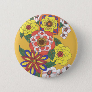 Retro Flowers 1960s Ink Hippie Vintage Button