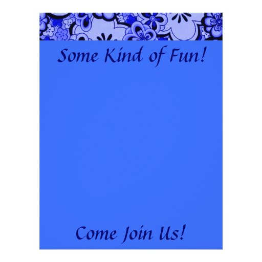 Retro Flowers Abstract Sapphire Blue Fun Flyer