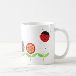 Retro Flowers and Ladybird Mug