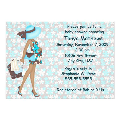 Retro Flowers Baby Shower Invitation (Blue AA)