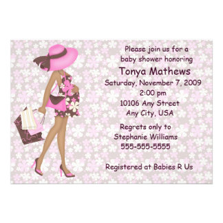 Retro Flowers Baby Shower Invitation Pink AA
