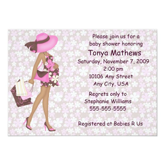 Retro Flowers Baby Shower Invitation (Pink AA)