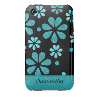 Retro Flowers Black iPhone 3g/3gs Case:Teal iPhone 3 Case-Mate Cases