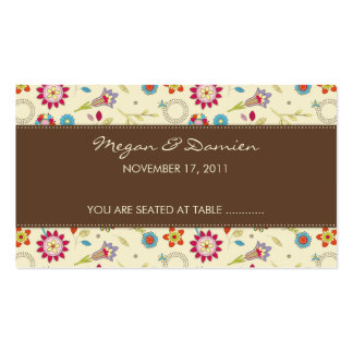 Retro Flowers · Brown · Guest Seating Card Business Card Template