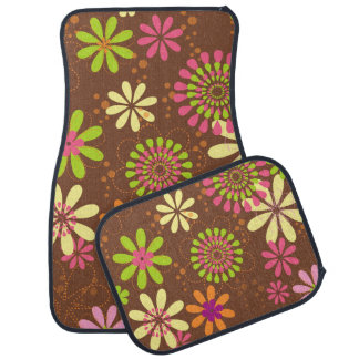 Retro Flowers Car Mats Full Set (set of 4)