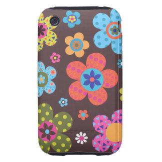 Retro Flowers Tough iPhone 3 Cover