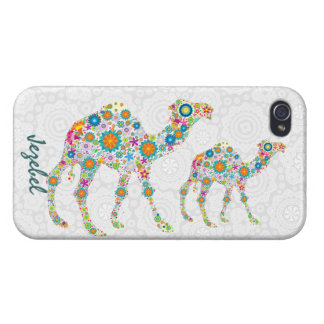 Retro Flowers Colorful Camel Illustration iPhone 4/4S Case