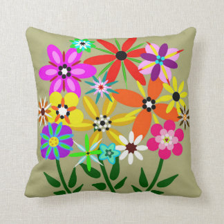 Retro Flowers Floral Throw Pillow