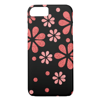 Retro Flowers In Coral On Black iPhone 7 Case