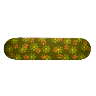 Retro Flowers Olive Skateboard
