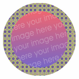 retro flowers pattern photo frame acrylic cut outs