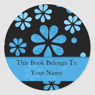 Retro Flowers Personalized Bookplates : Blue Round Sticker