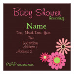 Retro Flowers Pink and Brown Baby Girl Shower Invite