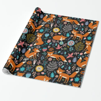 Retro Flowers & Red Foxes Seamless Pattern Wrapping Paper