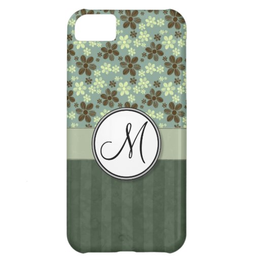 Retro Flowers Sea Green with Stripes and Monogram Cover For iPhone 5C