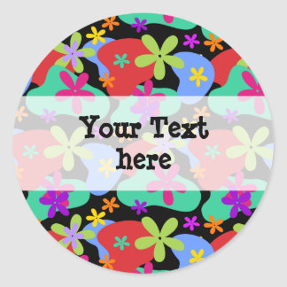 Retro Flowers seamless pattern colored Round Sticker