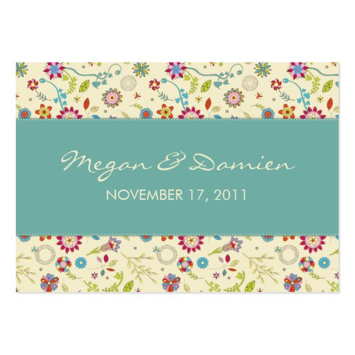 Retro Flowers · Teal · Wedding Favor Tag Business Cards