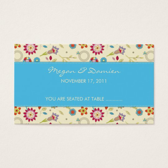 Retro Flowers · Turquoise · Guest Seating Card