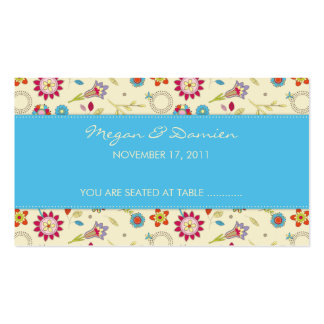 Retro Flowers · Turquoise · Guest Seating Card Business Card Template