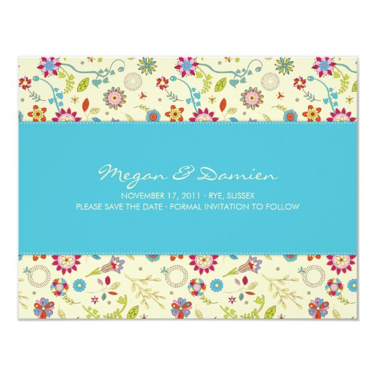 Retro Flowers · Turquoise · Save the Date Card