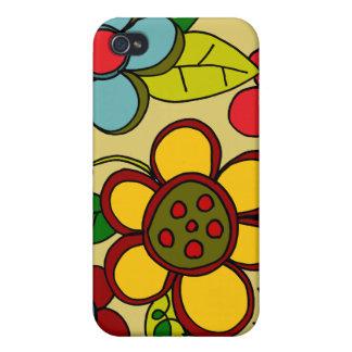 Retro Flowers Urban Colors Cases For iPhone 4
