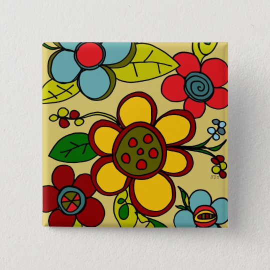 Retro Flowers Urban Colours 15 Cm Square Badge