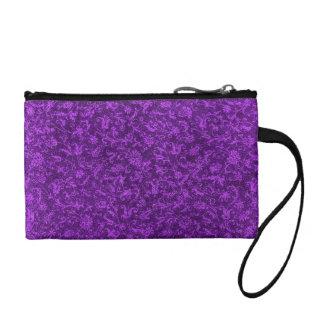 Retro Flowers Vintage Floral Amethyst Purple Grape Coin Purses
