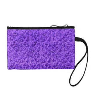 Retro Flowers Vintage Floral Leaf Amethyst Purple Change Purse