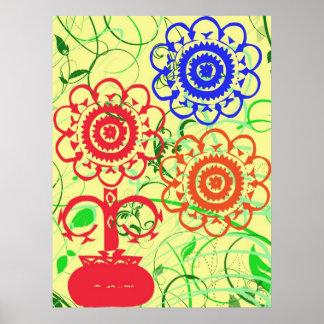 Retro Flowers with Swirls Poster