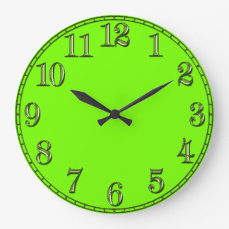 Retro Fluoro Lime-Green Time Piece Large Clock