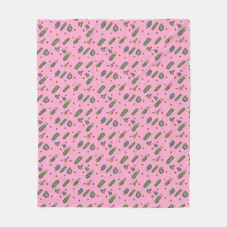 Retro Flying Clips graphical Pattern on any Color Fleece Blanket