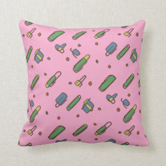 Retro Flying Clips Graphical Pattern on any Color Throw Pillow