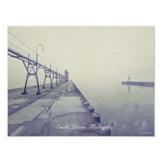 Retro Fog Covered South Haven Michigan Lighthouse Poster