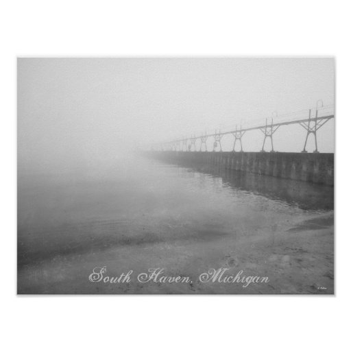 Retro Fog Covered South Haven Michigan Lighthouse Posters