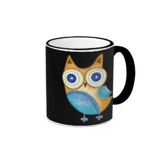 Retro Folk Art Owl Ringer Mug