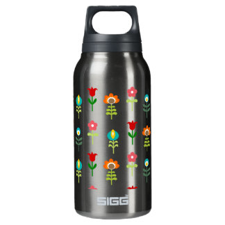 Retro folk floral pattern insulated water bottle
