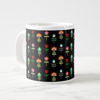 Retro folk floral pattern jumbo mug